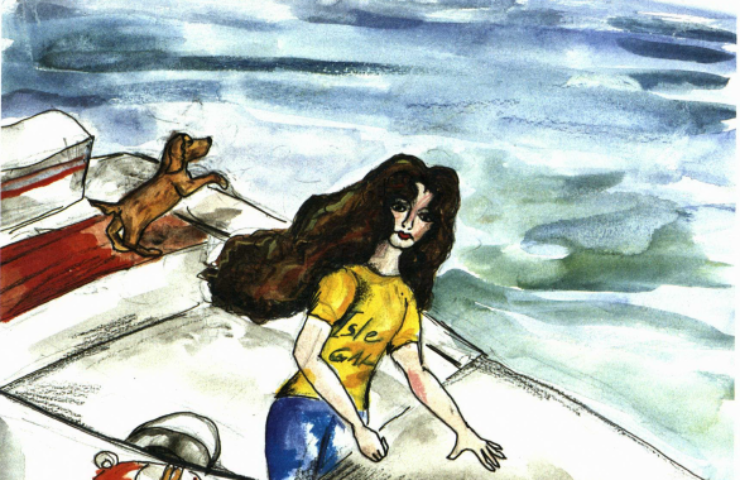 The Island girl and dog on a boat