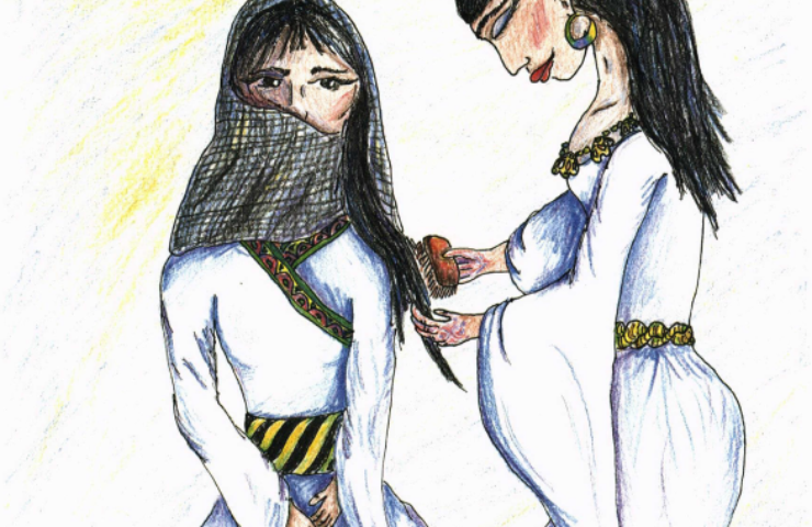 Wives of the Desert combing woman hair