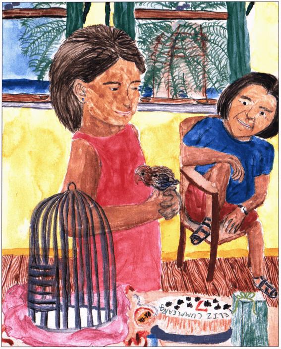 Catalina, My Friend girl holding a bird