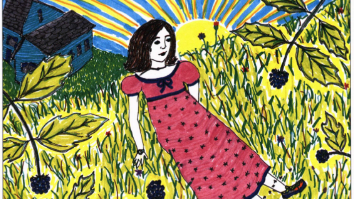 The Berry Patch girl on a berry garden