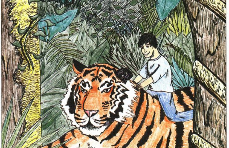 Tiger, Tiger boy riding a tiger