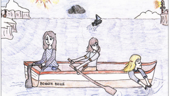 A Narrow Escape girls on a boat