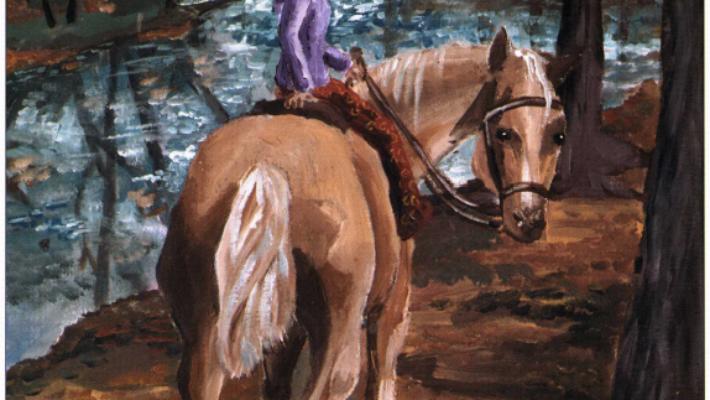 Baby girl riding a horse
