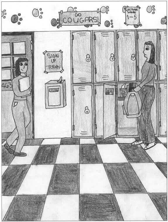 Teddy's Eyes school hallway