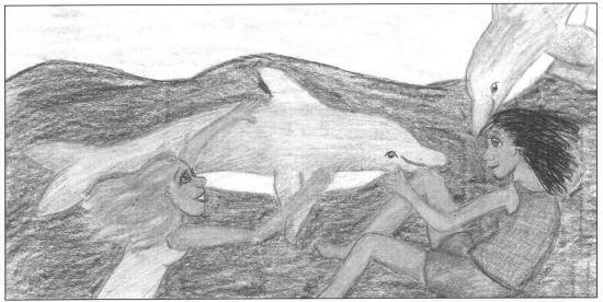 Hawaiian Hurricane two girls and dolphins