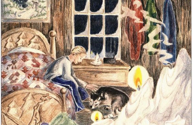 The Ultimate Challenge: To Come Home Alive boy and dog near the fire