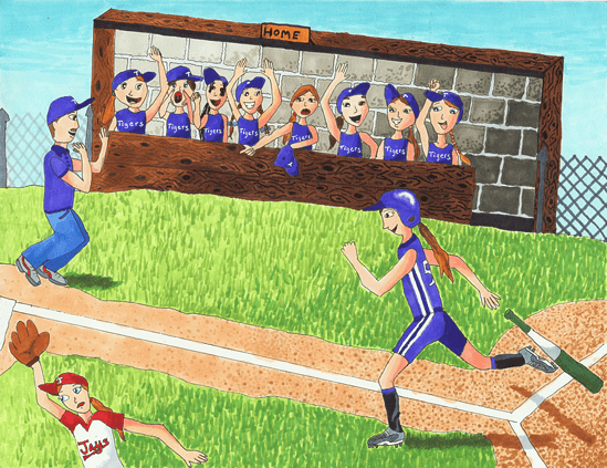 Softball girls playing softball