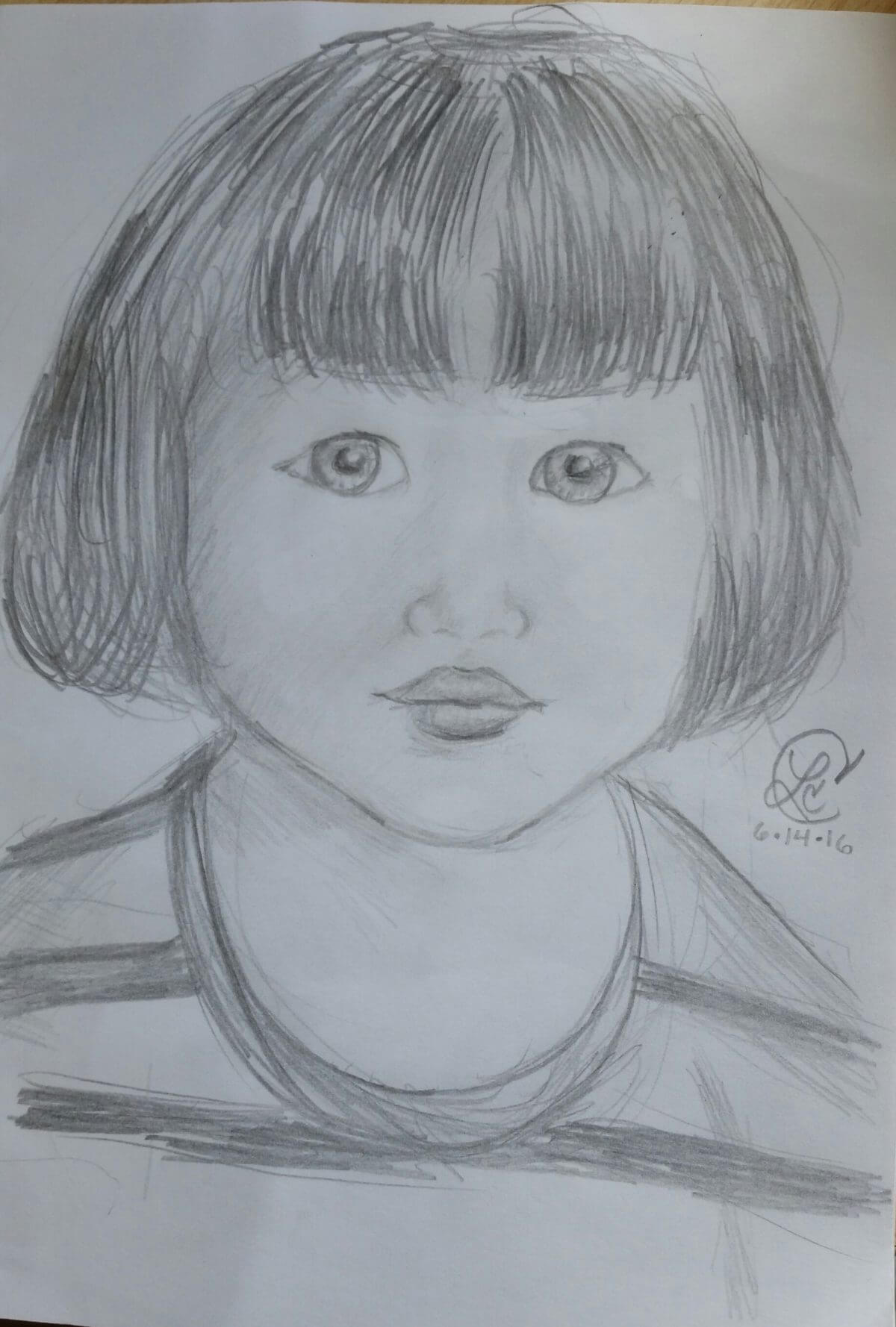 Welcome Aboard drawing of a little girl's face