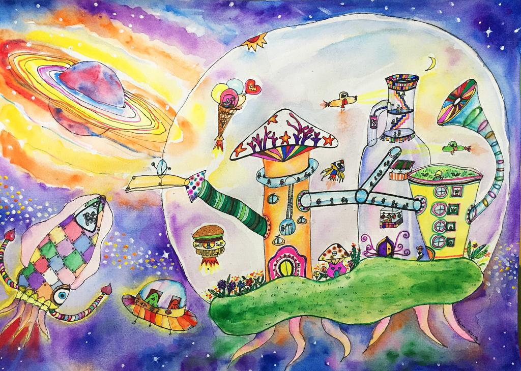 Sky City watercolor
