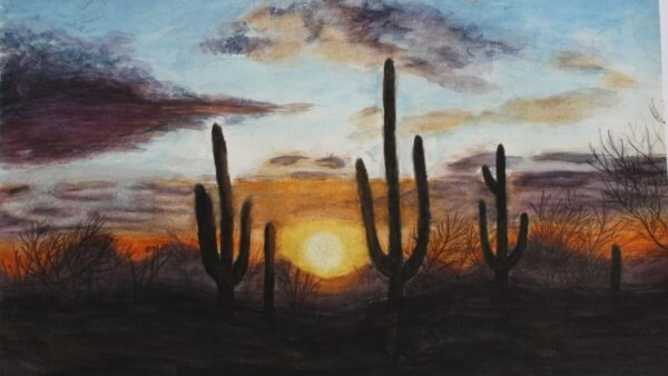 Saguaros at Sunset   By Evelyn Yao