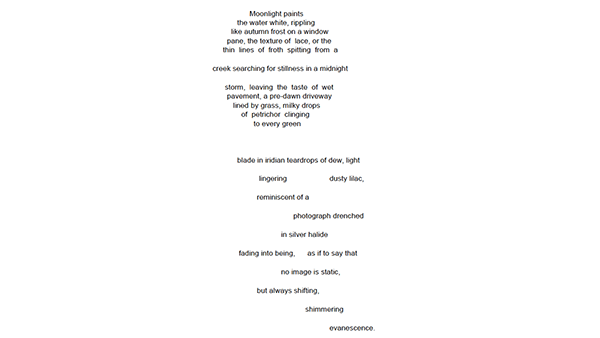 Moonlight Third Place in the Concrete Poetry Contest