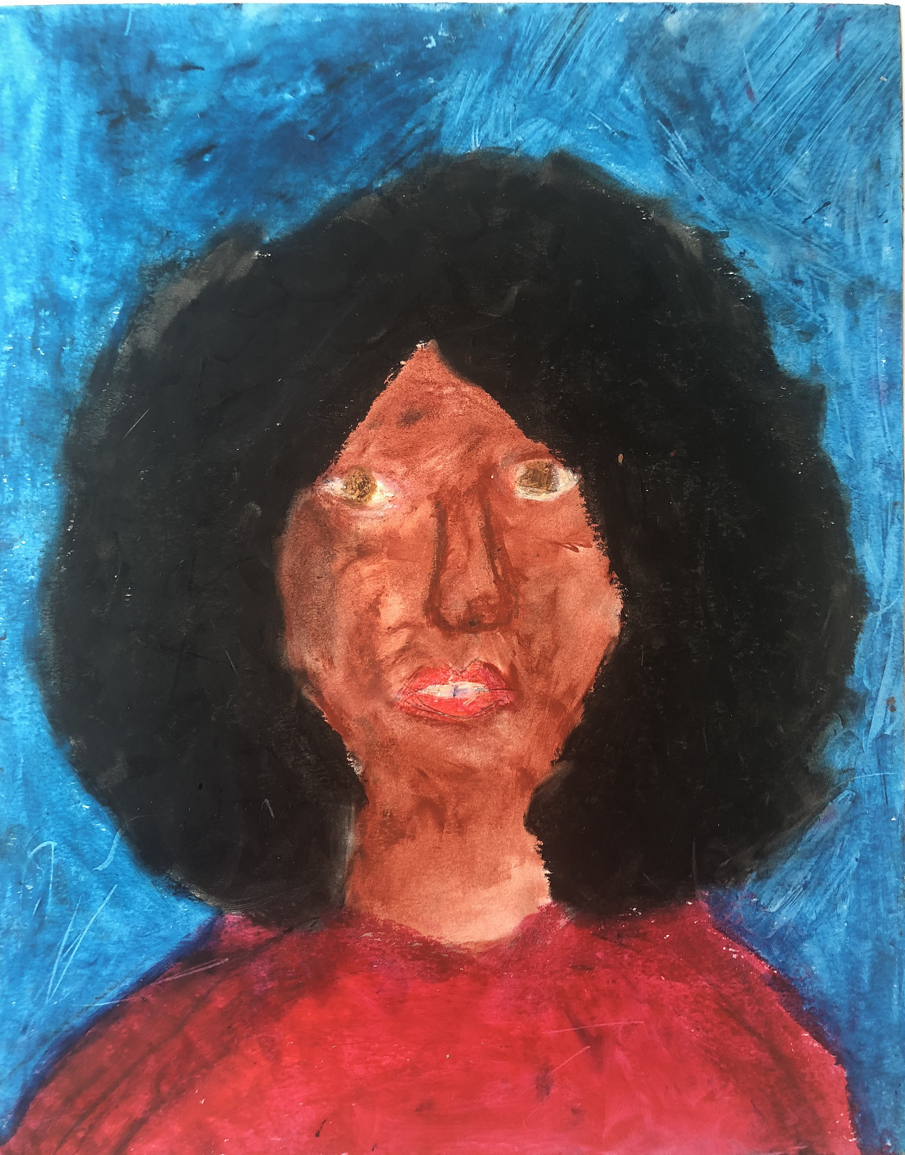 Portrait of a Woman Standing Against a Blue Wall